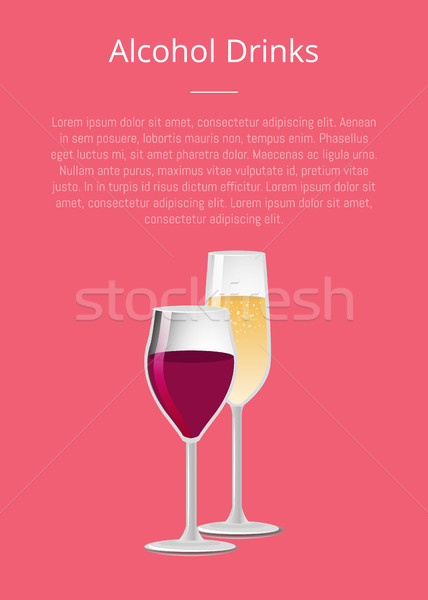 Alcohol Drinks Poster with Glass of Wine Champagne Stock photo © robuart