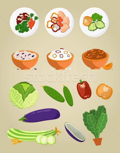 Vegetáriánus étel gyűjtemény tál étel tányérok káposzta Stock fotó © robuart