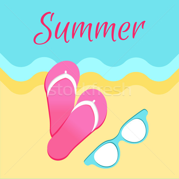 Hot Summer Poster with Slide Sandals Flip-Flops Stock photo © robuart