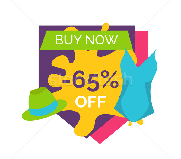 65 Off Buy Right Now Bright Promotional Emblem Stock photo © robuart