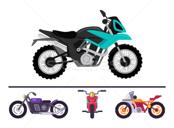 Fashionable Bike Models Set Motorcycles Motorbikes Stock photo © robuart