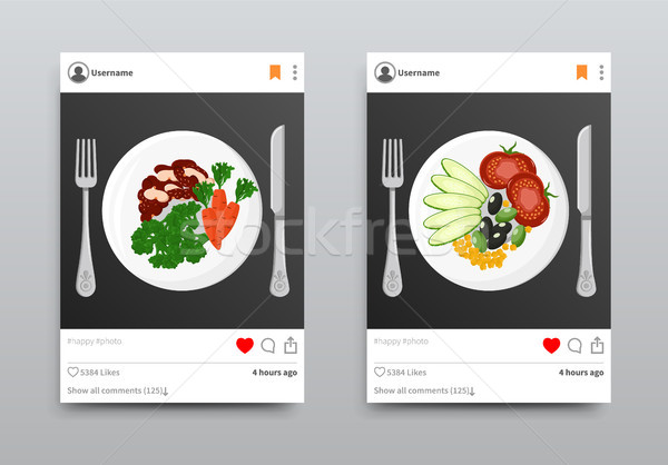 Placas pratos instagram conjunto brócolis feijões Foto stock © robuart