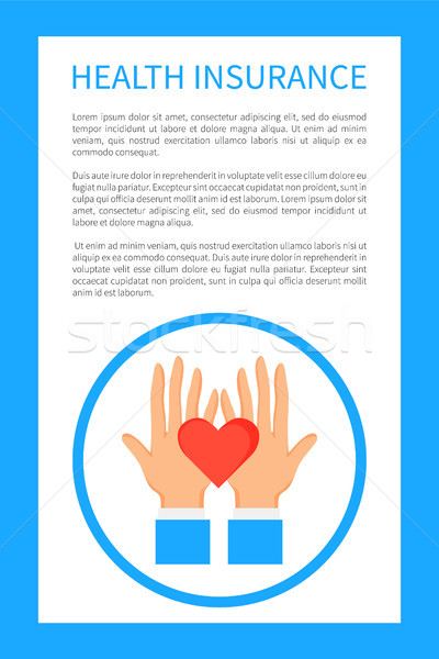 Health Insurance Poster with Round Logo with Hands Stock photo © robuart