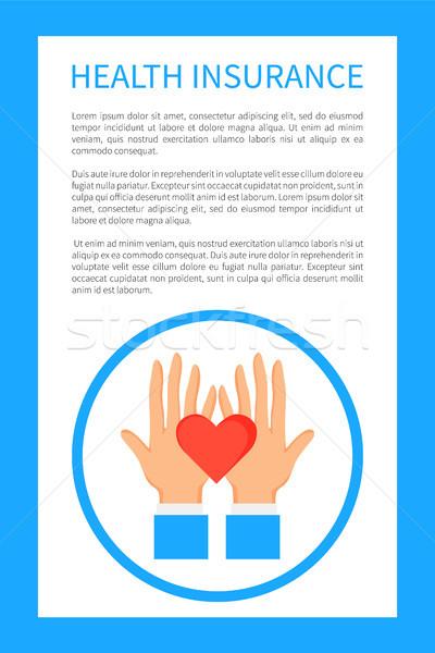 Seguro de saúde cartaz logotipo mãos abstrato Foto stock © robuart