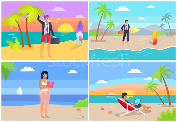 People by Seaside Freelance Vector Illustration Stock photo © robuart