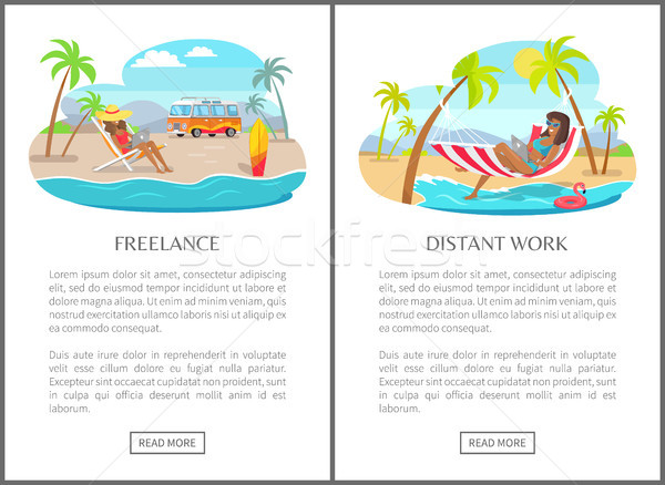 Freelance and Distant Work Commercial Banners Set Stock photo © robuart