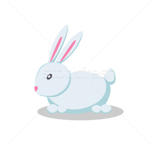 Rabbit Long Pink Ears Flat Style Design Vector Toy Stock photo © robuart
