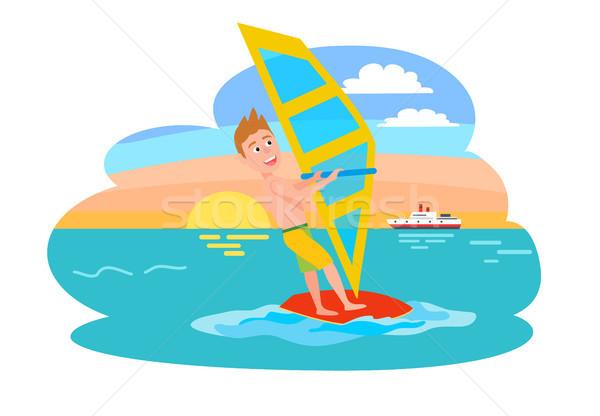 Windszörf nyár sport tevékenység férfi vitorla Stock fotó © robuart