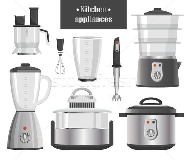 Konyha elektromos készülékek fémes konyhai gépek kompakt Stock fotó © robuart