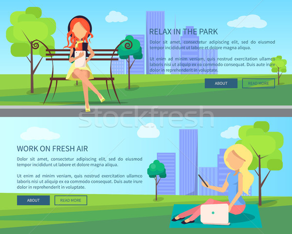 Work on Fresh Air Vector Banner Woman with Laptops Stock photo © robuart