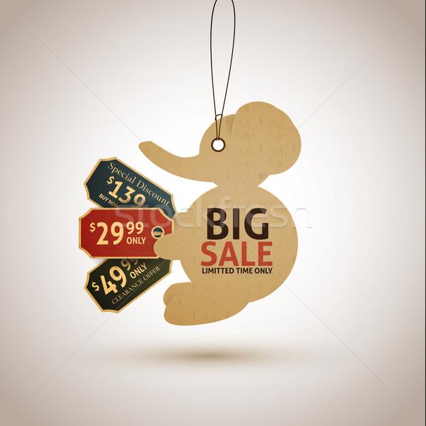 Venta etiquetas elefante negocios papel compras Foto stock © robuart
