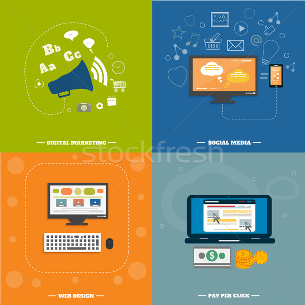 Iconen web design seo social media salaris Stockfoto © robuart