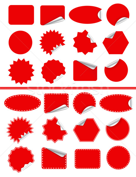 Sticker label set. Red sticky isolated on white Stock photo © robuart