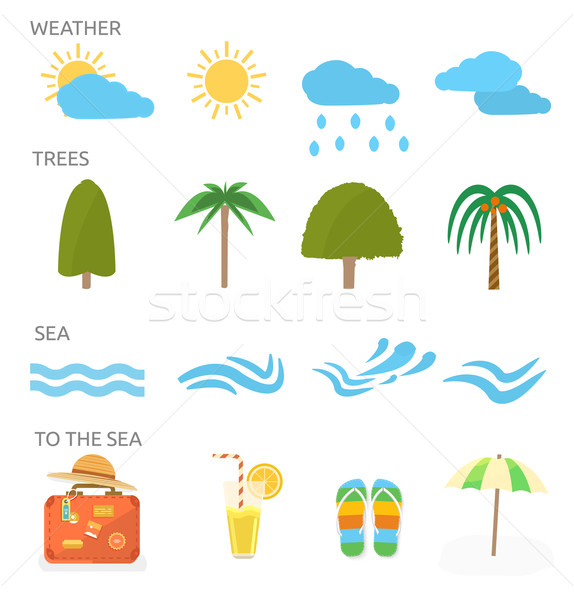Icons set of traveling and planning a summer vacation Stock photo © robuart