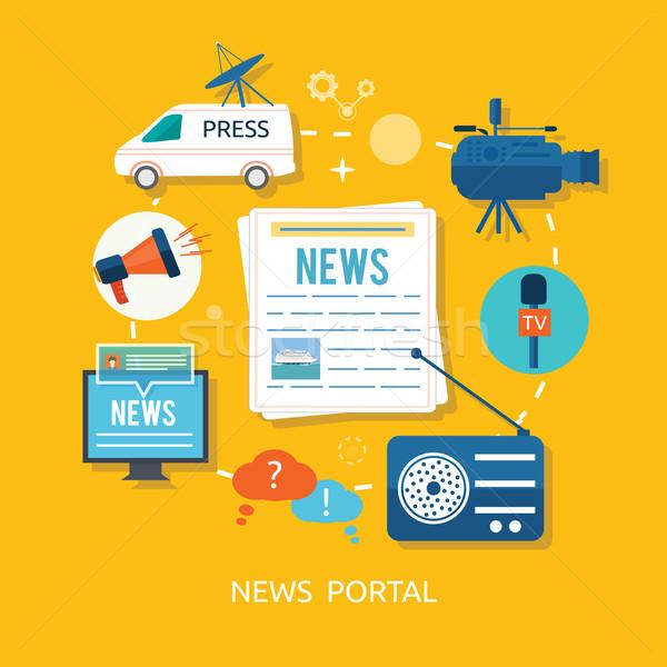 Nouvelles journaliste micro design téléconférence différent Photo stock © robuart