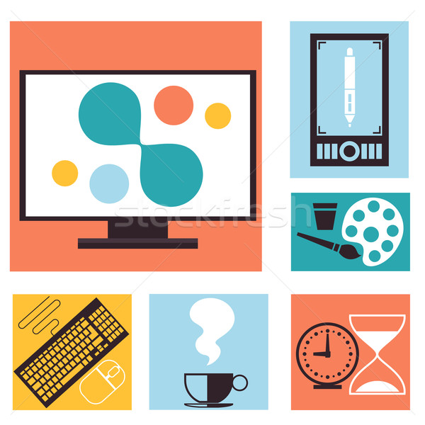 Stock photo: Set of colorful graphic, web design icons
