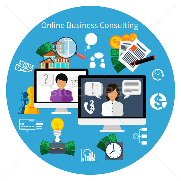 Vásárló online tanácsadás szolgáltatás ötlet 24 Stock fotó © robuart