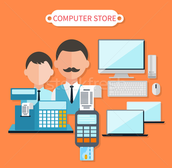 Modern Computer Store Concept Flat Design Stock photo © robuart