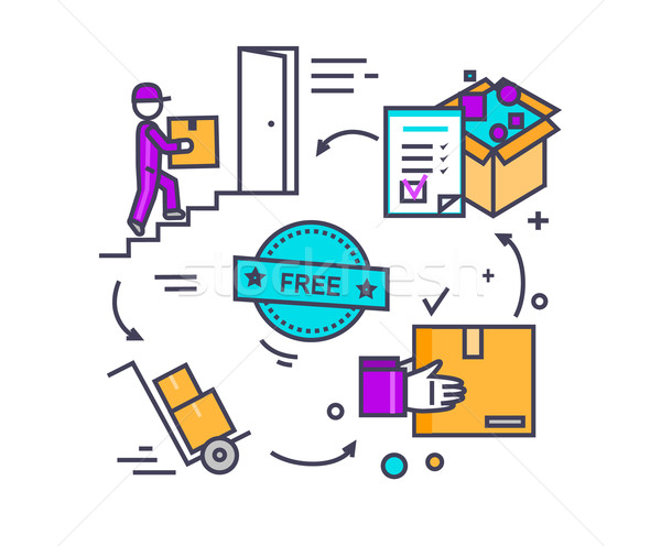 Free Shipping Concept Icon Flat Design Stock photo © robuart