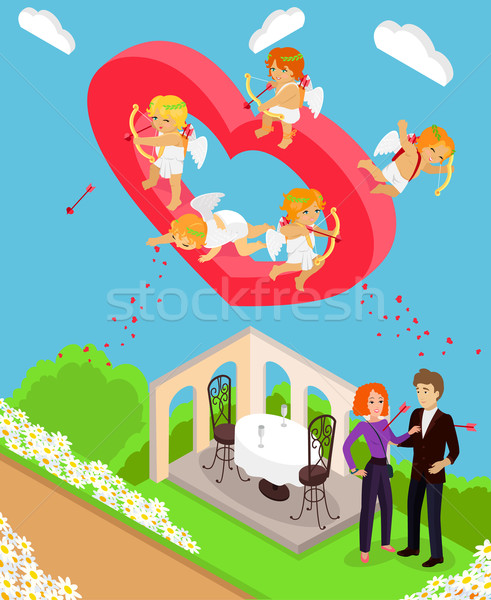 Valentines Day 3d Isometric Angels with Bow Stock photo © robuart