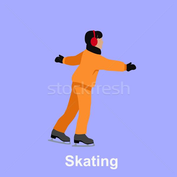 People Skating Flat Style Design Stock photo © robuart