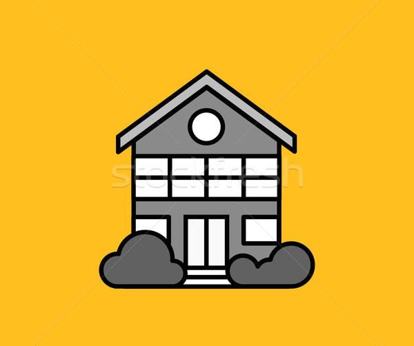 Maison icône jaune immobilier faible isolé Photo stock © robuart