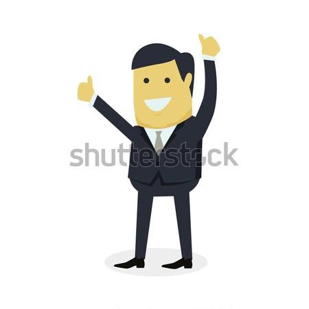 Előadás kézmozdulat hüvelykujj felfelé fiatal sikeres Stock fotó © robuart