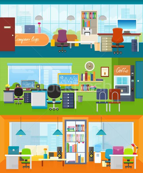 Interieur kantoor kamer illustratie ontwerp ingesteld Stockfoto © robuart