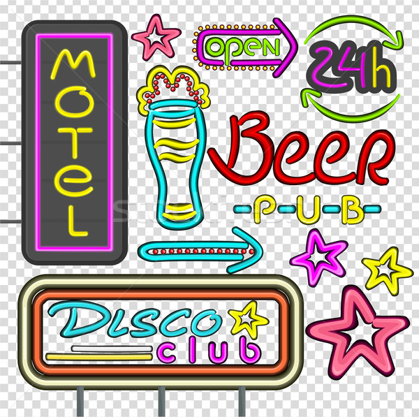 Neon disko kulüp bira birahane dizayn Stok fotoğraf © robuart