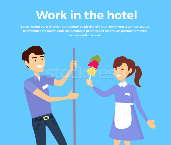Work in Hotel Banner Design Flat Stock photo © robuart
