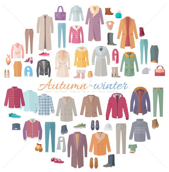 Autumn-Winter Clothes Collection Illustration Stock photo © robuart