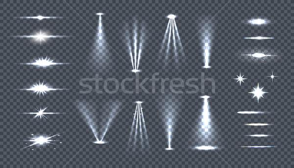 Szett fényes fények átláthatóság izzik villanás Stock fotó © robuart