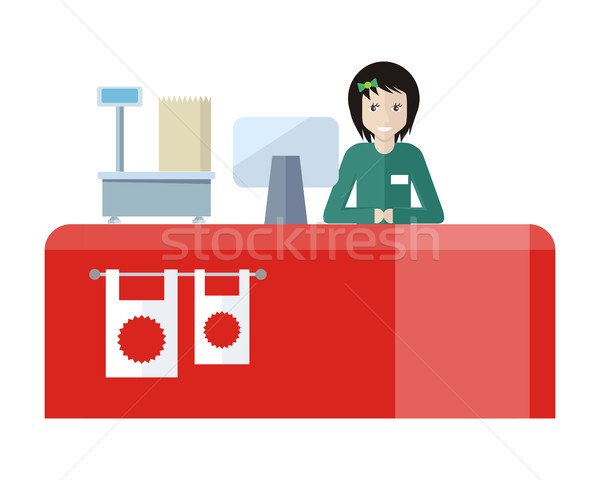 Shop Assistant Sitting at the Cash Desk. Stock photo © robuart