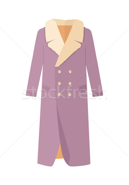 Warm Coat with Fur on Neck Flat Design Vector Stock photo © robuart