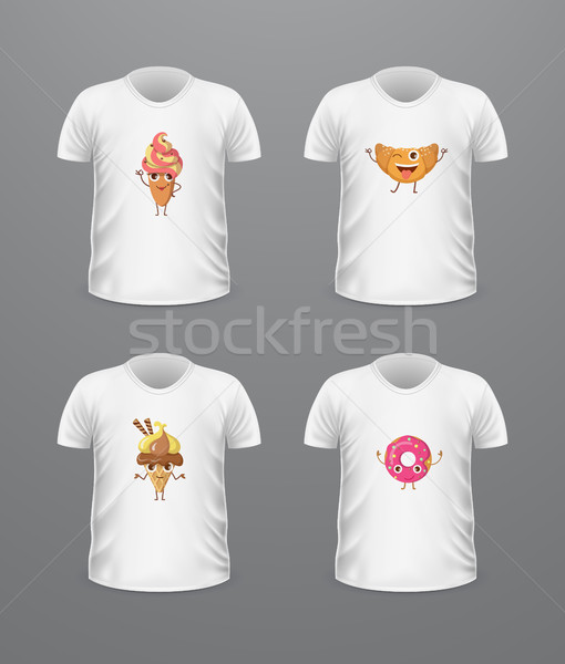 T-shirt Front View with Food Isolated on White Stock photo © robuart