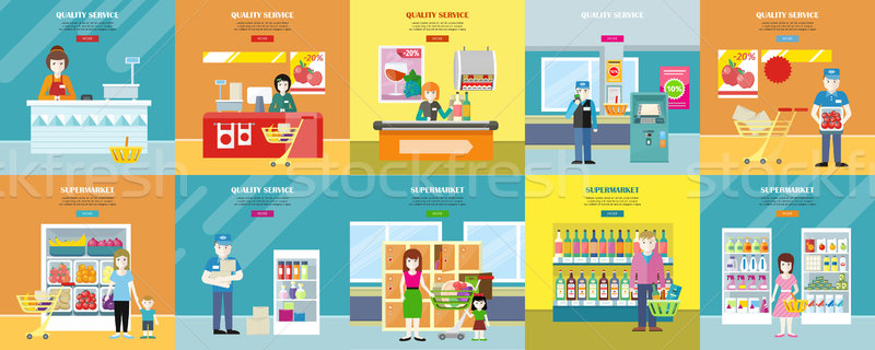 Set of Quality Service and Supermarket Web Banners. Stock photo © robuart
