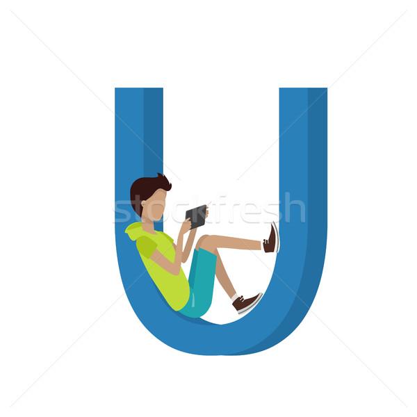 Szerkentyű ábécé levél fiú tabletta ül Stock fotó © robuart