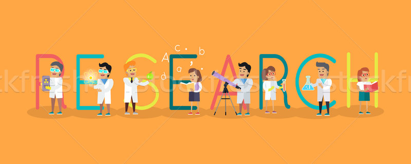 Research Science Banner. Human Characters in Gowns Stock photo © robuart