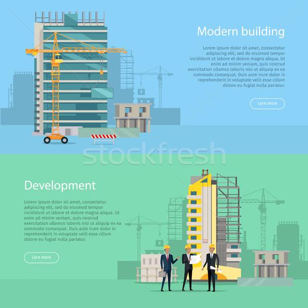 Modern bina gelişme toplama simgeler web afiş Stok fotoğraf © robuart