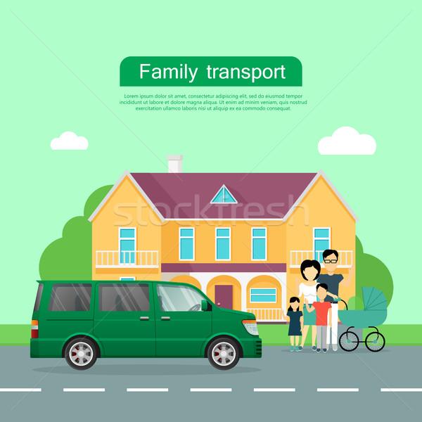 Familie vervoer vector web banner groot Stockfoto © robuart