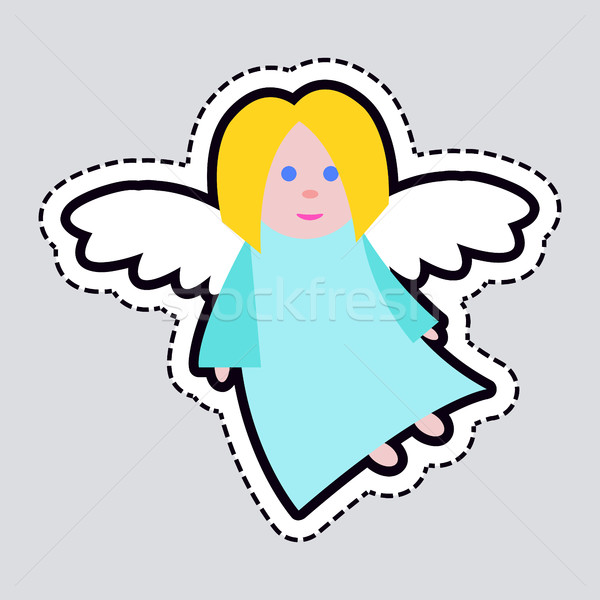 Christmas Angel. Blue Clothes. White Long Wings Stock photo © robuart