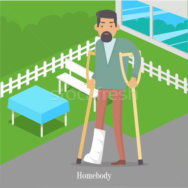 Homebody on Crutches with Broken Leg Walking Stock photo © robuart