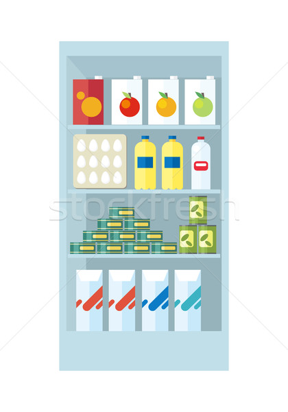 Shelves with Food Products Illustration. Stock photo © robuart