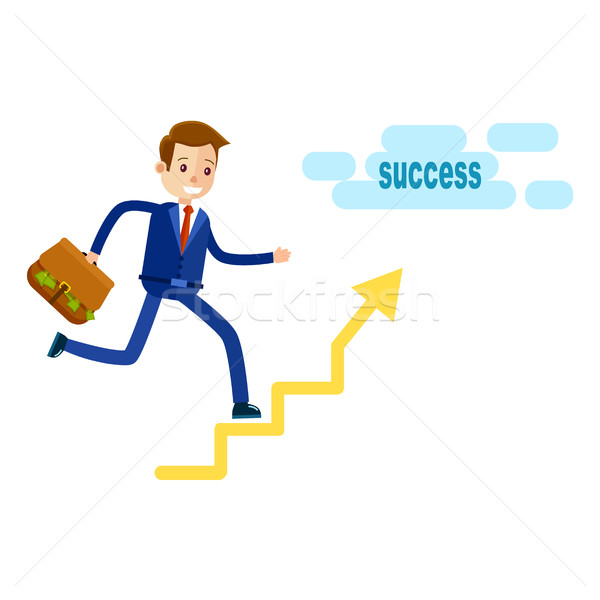 Manager Running Upstairs to Success with Briefcase Stock photo © robuart
