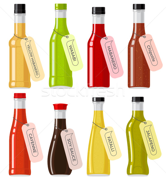 Sauce verre transparent bouteilles blanche Photo stock © robuart