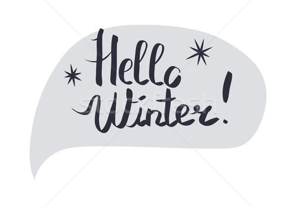 Olá inverno mão branco cinza Foto stock © robuart