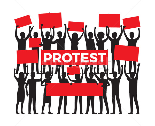 Protest by Group of Protester Silhouette on White Stock photo © robuart