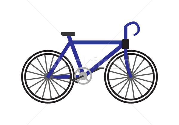 Fiets icon Blauw fiets geïsoleerd witte Stockfoto © robuart