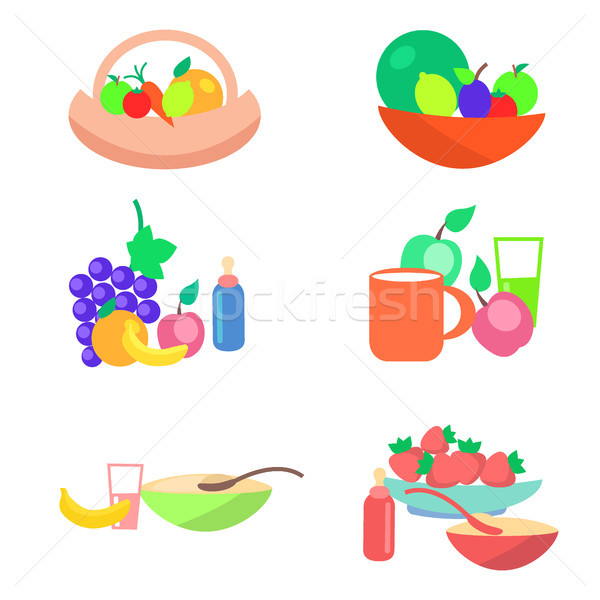 Kids Healthy Ration Flat Vector Concept Stock photo © robuart