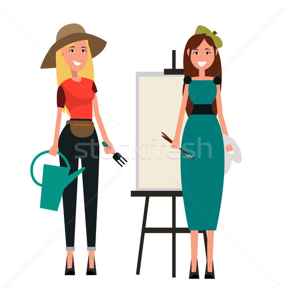 Set of Two Women. Gardener and Painter Flat Design Stock photo © robuart